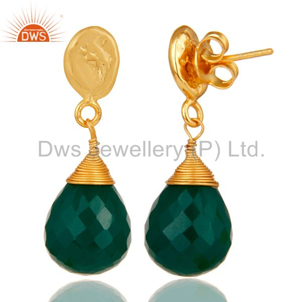 Suppliers Green Onyx 18K Gold Plated Sterling Silver Drop Earring
