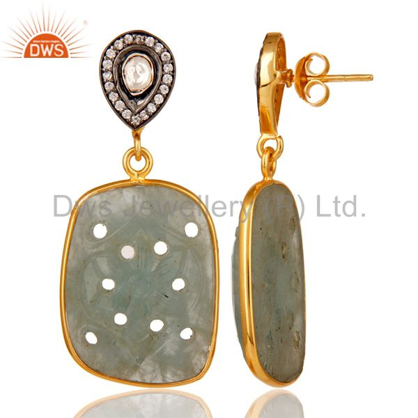 Suppliers Blue Sapphire Carving and Crystal 18K Gold Plated Sterling Silver Drop Earring