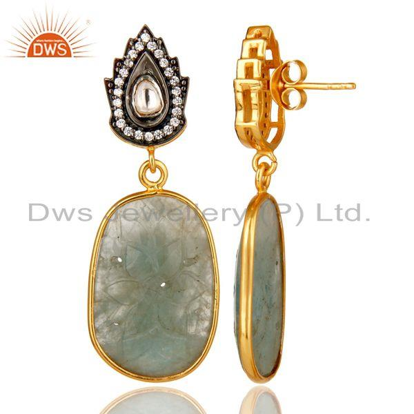 Suppliers 18k Gold Over Sterling Silver Blue Sapphire Carving And CZ Polki Drop Earrings