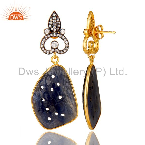 Suppliers 22K Gold Plated Sterling Silver Blue Sapphire Carving Dangle Earrings With CZ