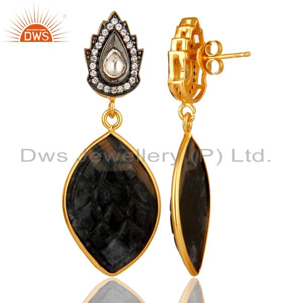 Suppliers 18k Gold Plated Sterling Silver Blue Sapphire Carving Drop Earrings With CZ