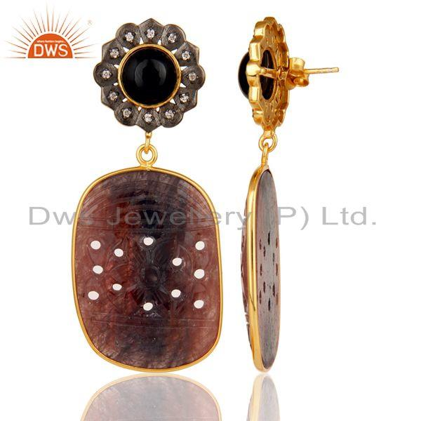 Suppliers Black Onyx and Sapphire Carving 18K Gold Plated Sterling Silver Lovely Earring