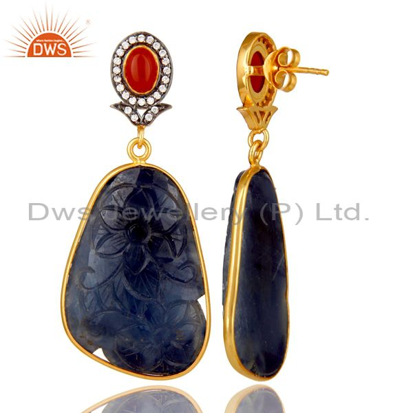 Suppliers Carved Blue Sapphire And Red Onyx 22K Gold Over Sterling Silver Dangle Earrings
