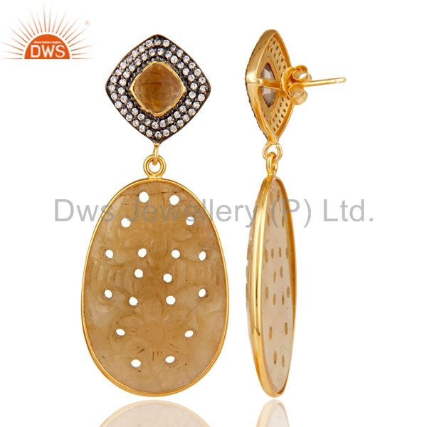 Suppliers Sapphire Carving and Smokey Drop Earring 18K Gold Plated 925 Silver