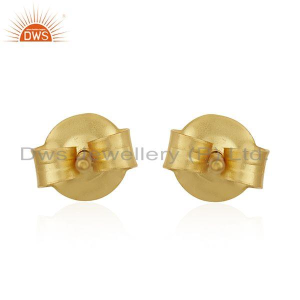 Suppliers 14K Yellow Gold Plated Sterling Silver Dyed Chalcedony Bezel Set Studs Earrings