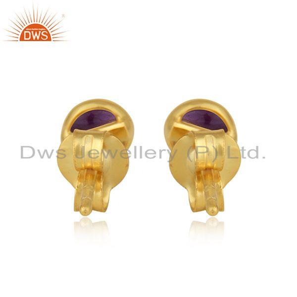 Designer of Amethyst gemstone designer 18k gold plated silver stud earrings