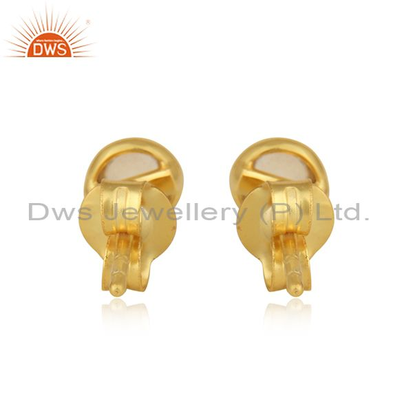 Designer of Citrine gemstone womens yellow gold plated silver stud earrings
