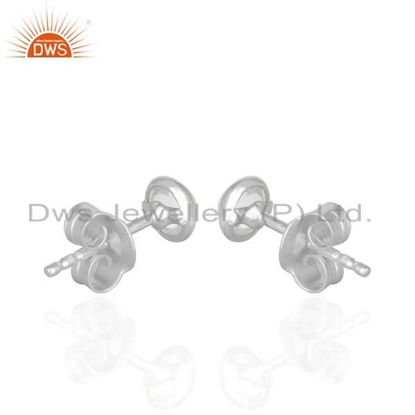 Suppliers Crystal Quartz Gemstone 92.5 Silver Stud Earring Jewelry Manufacturer