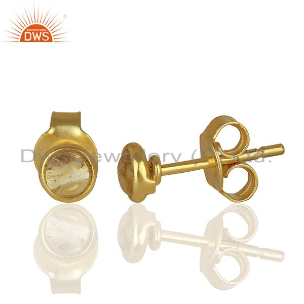 Suppliers Gold Plated Silver Crystal Quartz Stud Earrings Jewelry Manufacturer