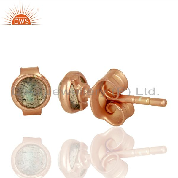 Suppliers Rose Gold Plated Silver Labradorite Gemstone Stud Earrings Wholesale