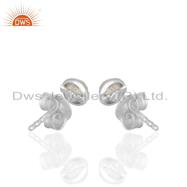 Suppliers Natural Labradorite Gemstone 925 Silver Stud Earrings Wholesale
