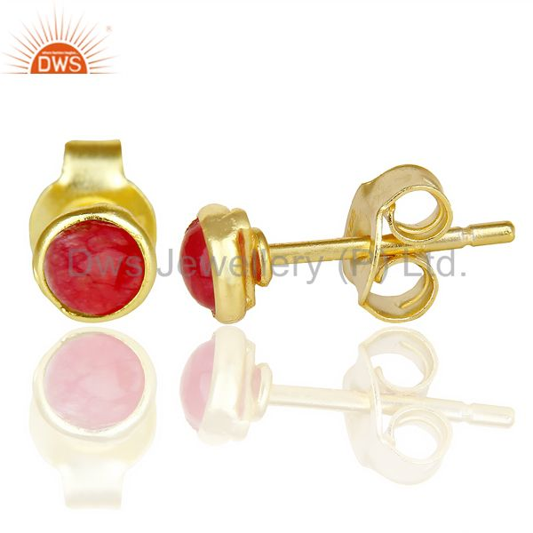 Suppliers Natual Red Aventurine Cabochon Tiny 4MM Round Stud 14 K Gold Plated Earring