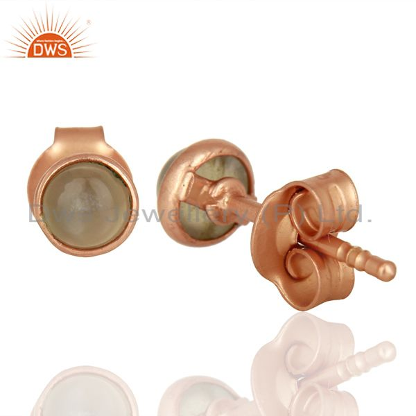 Suppliers Gray Moonstone Rose Gold Plated Silver Gemstone Stud Earrings Supplier