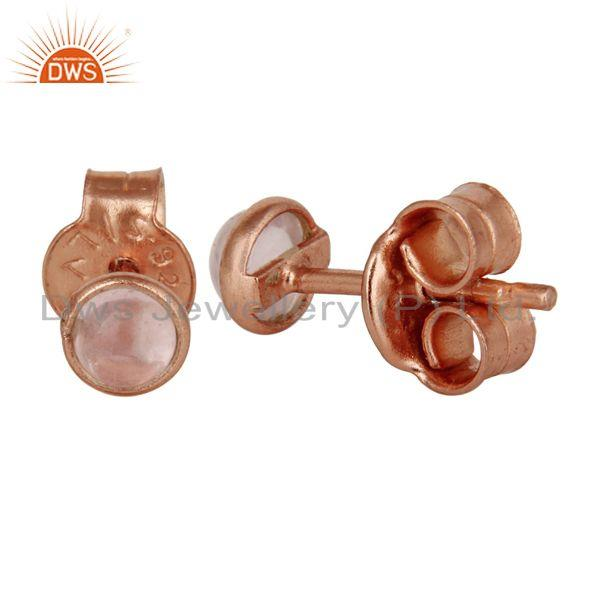 Suppliers 18K Rose Gold Plated Sterling Silver 4mm Round Rose Chalcedony Stud Earrings
