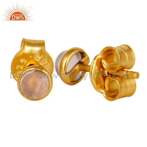 Suppliers 18K Yellow Gold Plated Sterling Silver 4mm Round Rose Chalcedony Stud Earrings