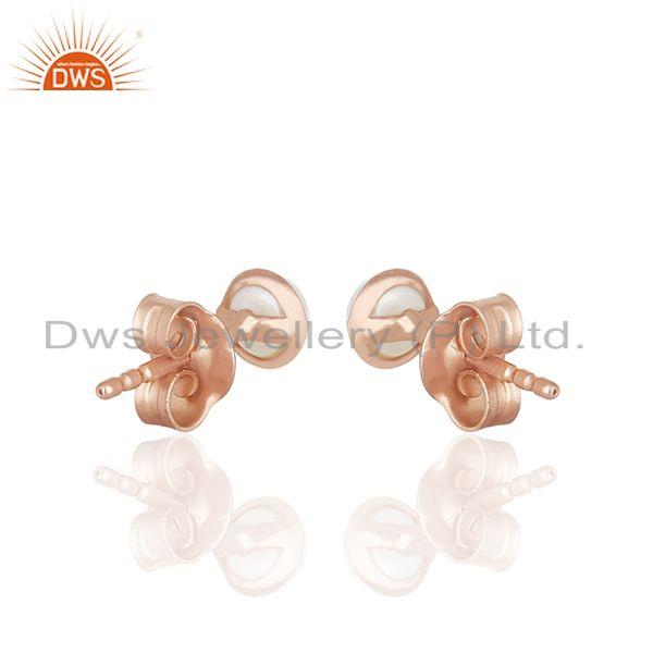Suppliers Rose Gold Plated 92.5 Silver Natural Pearl Stud Earring Jewelry