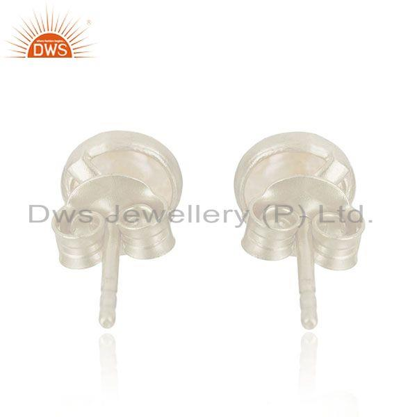 Suppliers 92.5 Sterling Fine Silver Natural Pearl Round Stud Earrings Manufacturer India