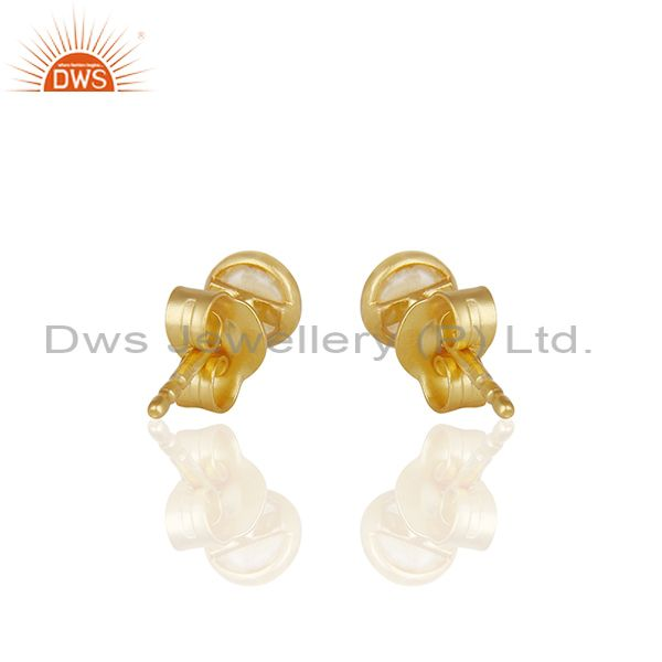 Suppliers Natural Pearl Gold Plated 925 Silver Stud Earring Jewelry Manufacturer
