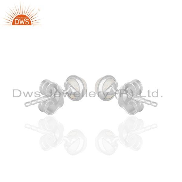 Suppliers Rainbow Moonstone Stud Earrings Silver Jewelry Manufacturer India