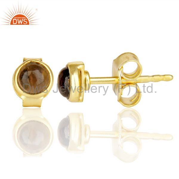 Suppliers Smoky Topaz Cabochon Tiny 4MM Round Stud 14 K Gold Plated Earring