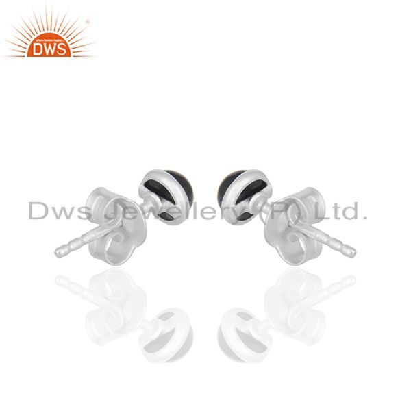 Suppliers Black Onyx Gemstone Stud Earrings Wholesale Sterling Silver Jewelry