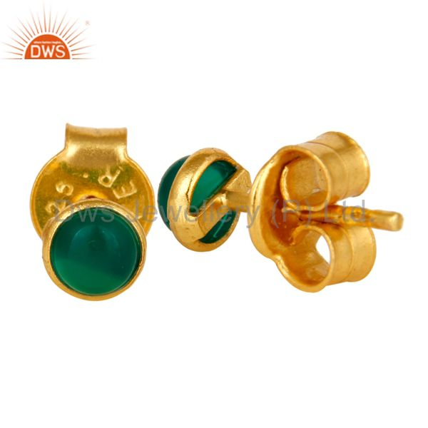 Suppliers 18K Yellow Gold Plated Sterling Silver 4mm Round Green Onyx Stud Earrings
