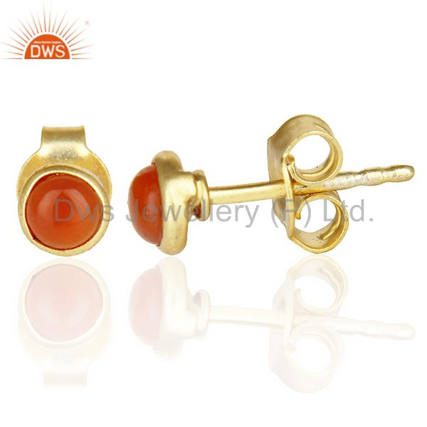 Suppliers Red Onyx Cabochon Tiny 4MM Round Stud 14 K Gold Plated Earring