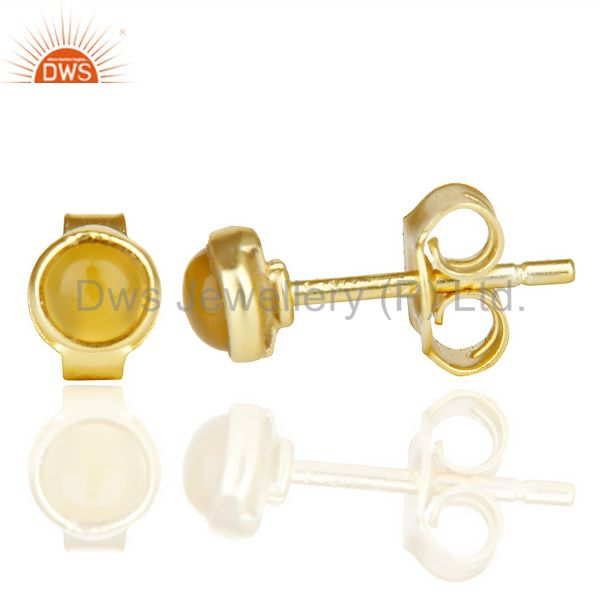 Suppliers Yellow Chalcedony Cabochon Tiny 4MM Round Stud 14 K Gold Plated Earring