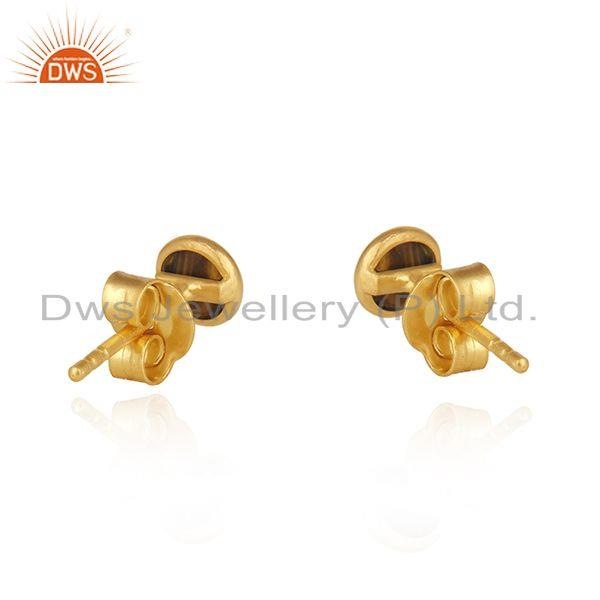 Suppliers Tiger Eye Gemstone Gold Plated 925 Silver Round Stud Earring Wholesale