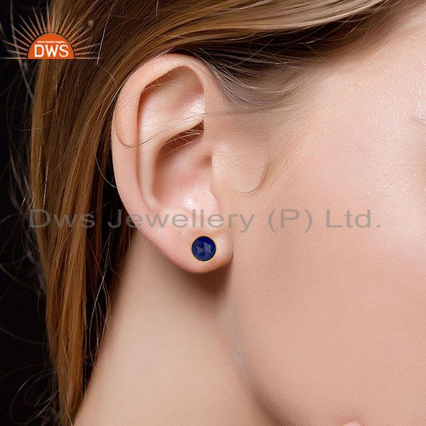 Suppliers 14K Yellow Gold Plated 925 Sterling Silver Handmade Lapis Lazuli Studs Earrings