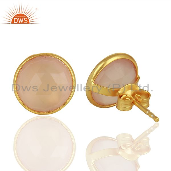 Suppliers Rose Chalcedony Gemstone Gold Plated 925 Silver Stud Earrings Jewelry