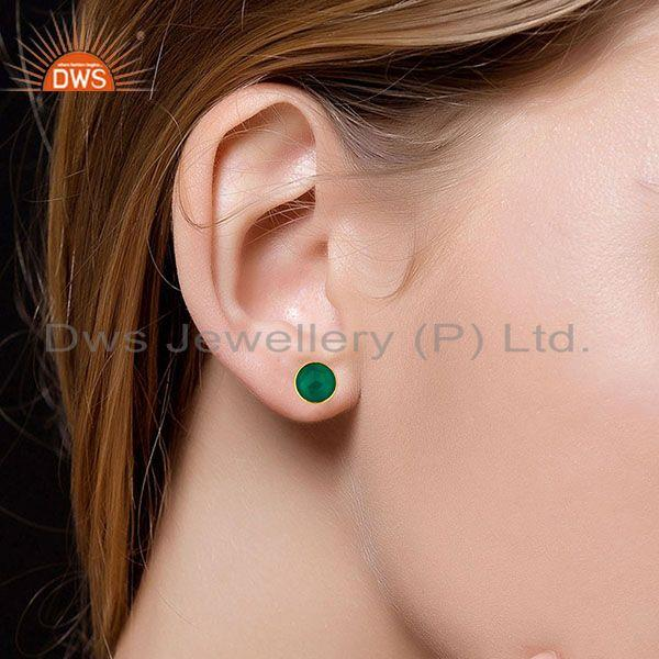 Suppliers 14K Yellow Gold Plated 925 Sterling Silver Green Onyx Gemstone Studs Earrings