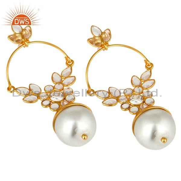 Suppliers 14K Gold Plated Sterling Silver Pearl And CZ Ethnic Designer Dangle Earrings