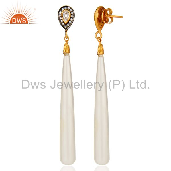 Suppliers 18K Gold Plated Sterling Silver White Chalcedony And Cubic Zirconia Earrings