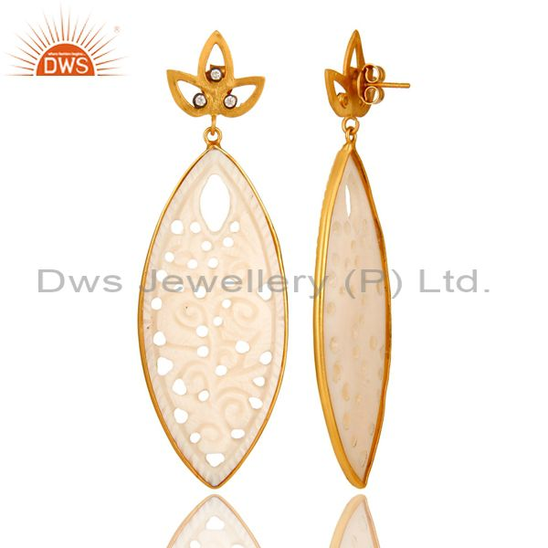 Suppliers 14K Yellow Gold Plated Sterling Silver Carved Mother Of Pearl Dangle Earrings