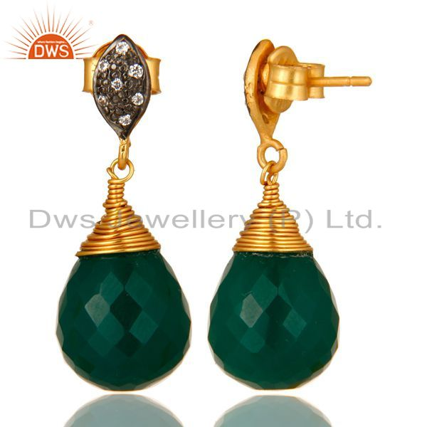 Suppliers 14K Yellow Gold Plated Sterling Silver Green Onyx Drop Earrings With CZ