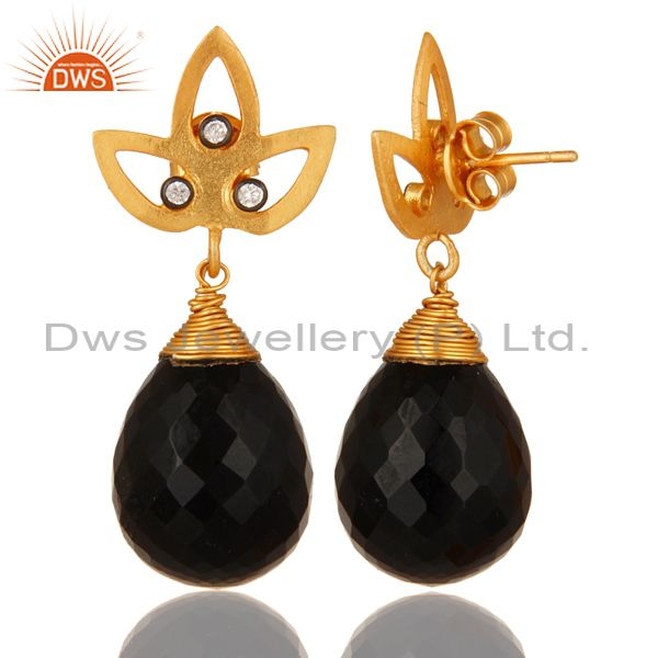 Suppliers 24K Yellow Gold Plated Sterling Silver Black Onyx Gemstone Drop Earrings With CZ