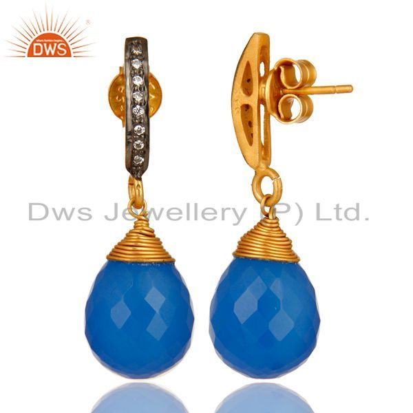 Suppliers 14K Yellow Gold Plated Sterling Silver Blue Chalcedony Drop Earrings With CZ
