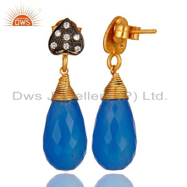 Suppliers 18K Yellow Gold Plated Sterling Silver Blue Chalcedony Gemstone Drop Earrings
