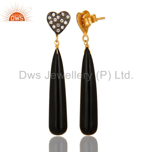 Suppliers 14K Yellow Gold Plated Sterling Silver CZ & Black Onyx Smooth Teardrop Earrings