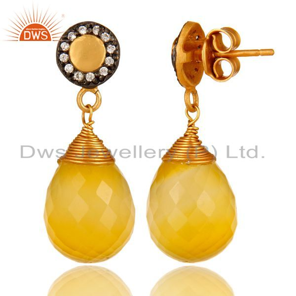 Suppliers 14K Gold Plated Sterling Silver Faceted Yellow Moonstone Drop Earrings With CZ