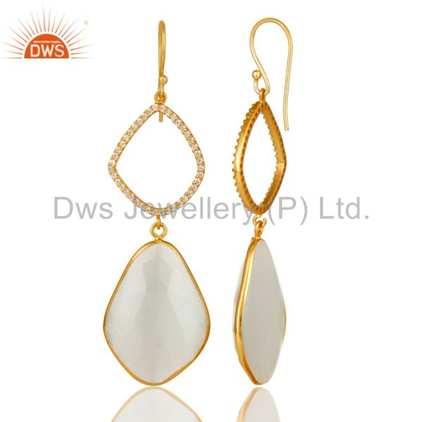 Suppliers 18K Gold Plated Sterling Silver White Moonstone Bezel Set Dangle Earring With CZ