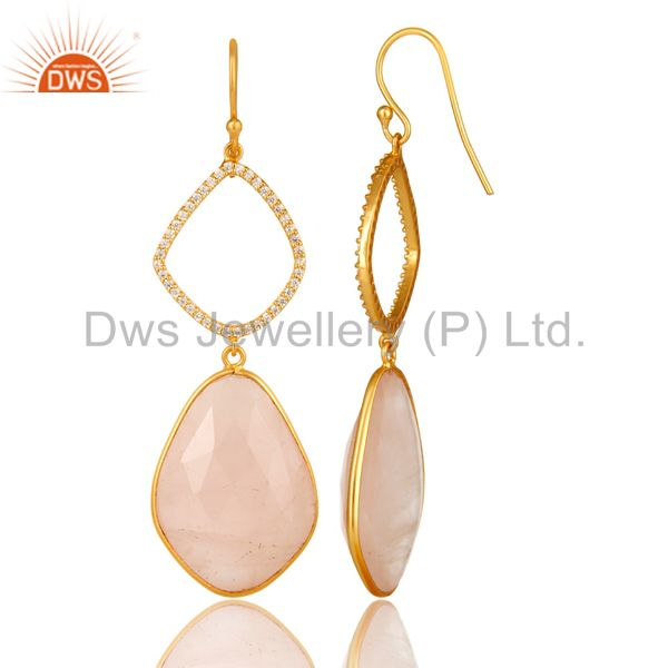 Suppliers 18K Yellow Gold Plated Sterling Silver Rose Quartz And CZ Dangle Earrings
