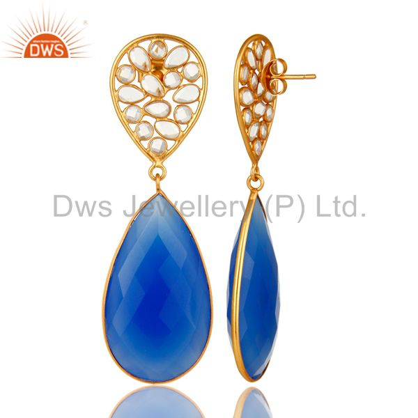 Suppliers 18K Yellow Gold Plated Sterling Silver Blue Chalcedony Bezel Set Dangle Earrings