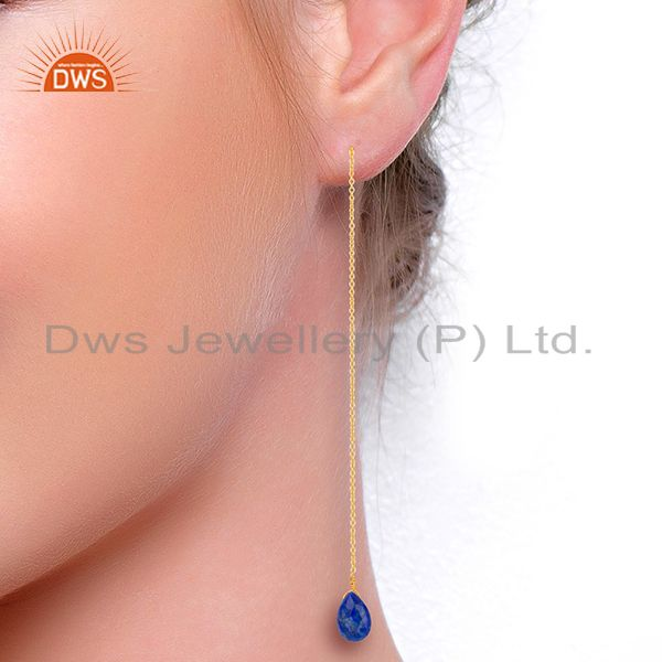 Suppliers Lapis Long Chain Thread Earring Gold  Plated  Sterling Silver Jewelry