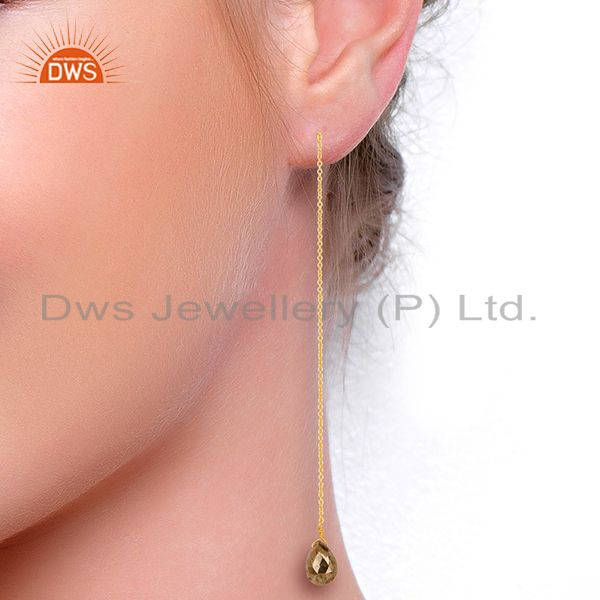Suppliers Pyrite Long Dangle Crossover 14K Gold Plated 92.5 Sterling Silver Earring