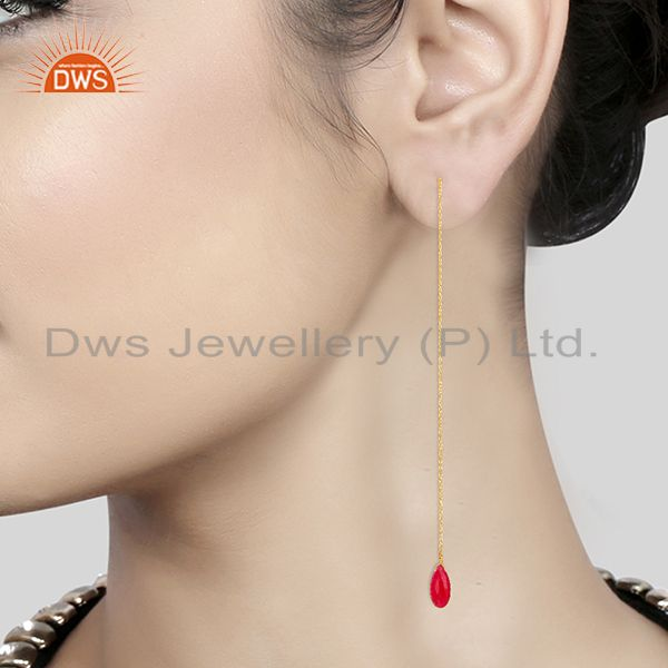 Suppliers Red Ruby Gemstone 925 Silver Gold Plated Chain Earrings Manufacturer