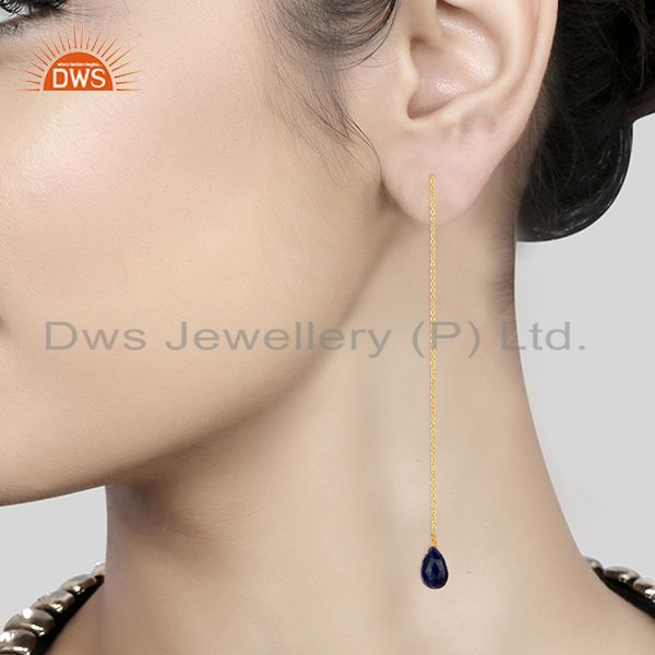 Suppliers Handmade 925 Silver Gold Plated Gemstone Chain Earrings Supplier