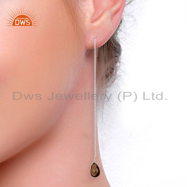 Suppliers Smoky Dangle Sui Dhaga Pattern White Rhodium Plated Wholesale Silver Earring