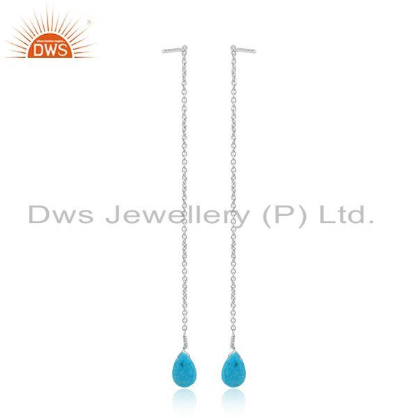 Designer of Natural turquoise gemstone 925 sterling fine silver chain earrings